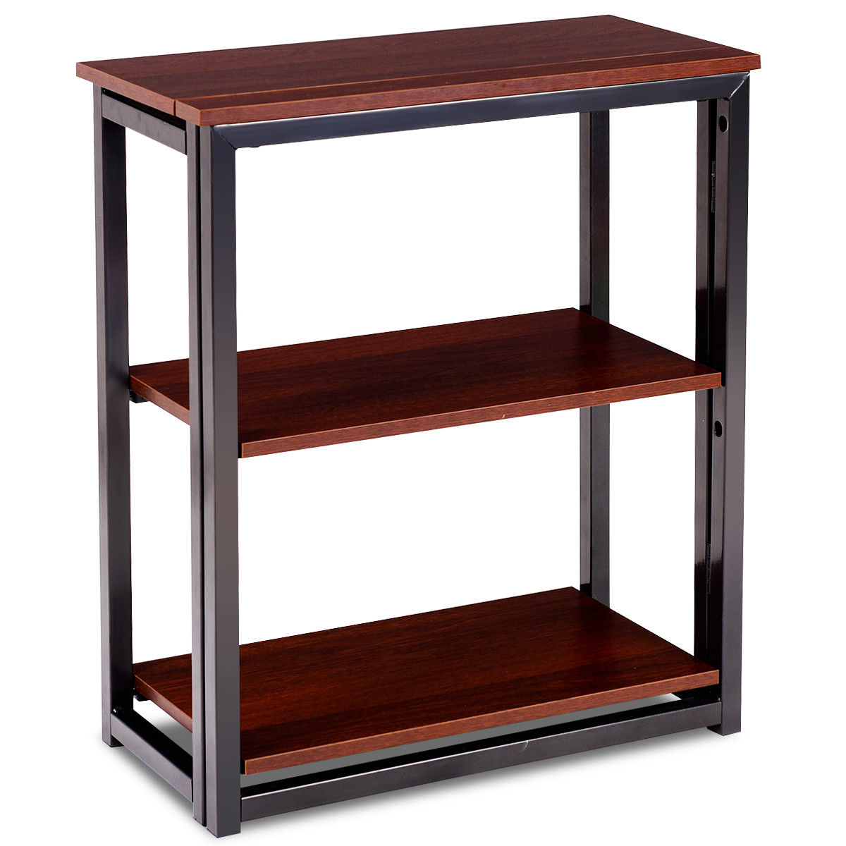 Gymax 3 Tier Folding Ladder Bookcase Shelf Multifunctional Plant Flower Display Stand
