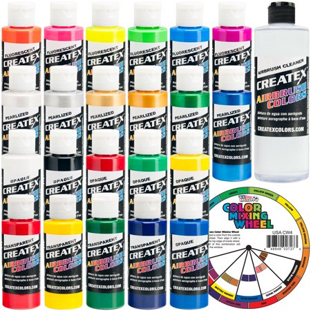 Createx Colors Airbrush Paint - 22 Colors and Cleaner - 2 (Createx Airbrush)