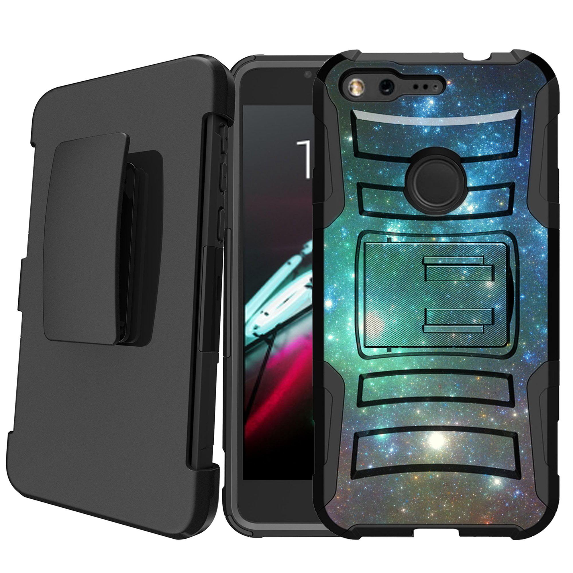 Google Pixel Holster Case [Galaxy Case][Galactic Phone Case Series] w/ Built-In Kickstand + Bonus HolsterGreen Blue Galaxy