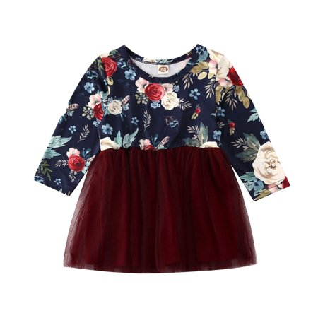 Infant Toddler Baby Girl Floral Princess Dress Long Sleeve Flowers Tulle Skirt Party Dresses Outfit - image 4 de 5