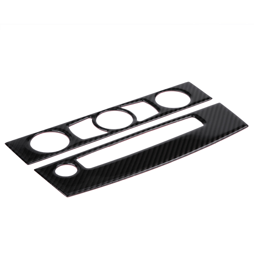 WALFRONT Carbon Fiber Car Interior Front Air Conditioner Outlet CD Control Frame Cover Trim for BMW E60, Air Conditioner Cover Trim,Vent Cover Trim