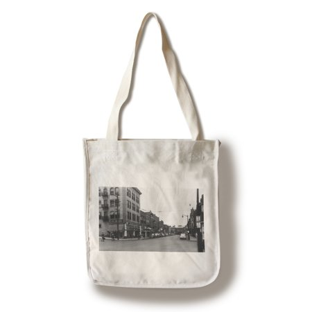 Lewiston  Idaho   City Street Scene  Lewis Clark Hotel In Distance  100  Cotton Tote Bag   Reusable
