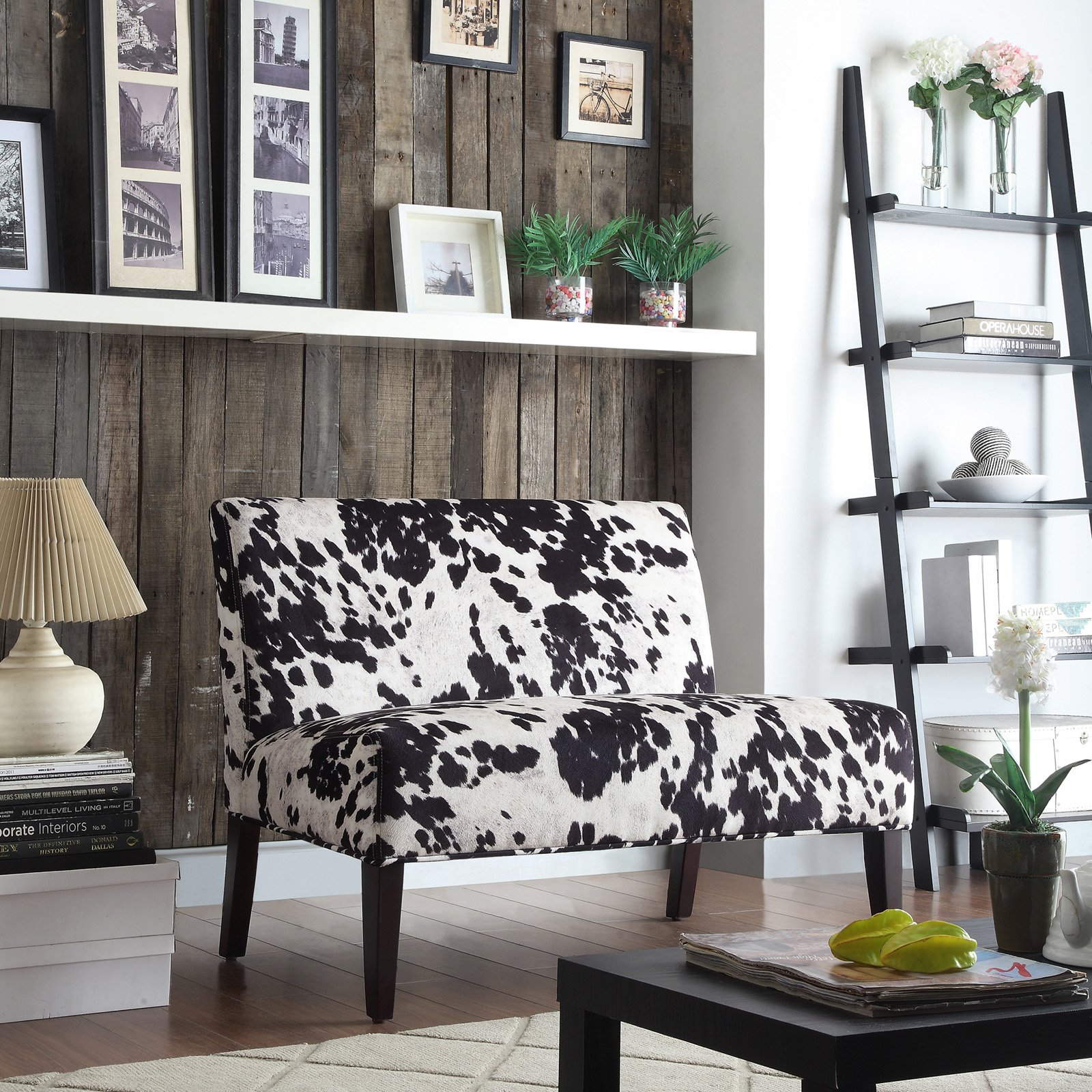 Weston Home Black Cow Hide Loveseat - Espresso