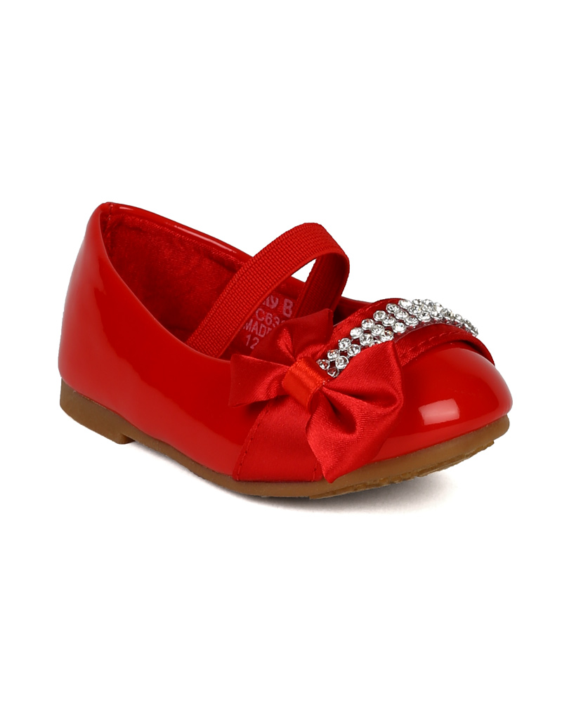 fca8782202cd Jelly beans ah avali leatherette rhinestone ribbon bow elastic ballerina  flat toddler jpg 800x1001 Red jelly