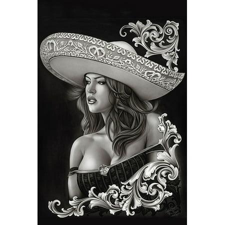 dffc35cbc Ceeze Charra by Big Ceeze Sexy Latina Woman Sombrero Tattoo Paper Poster  Print - Walmart.com