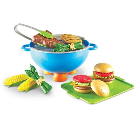 Image of New Sprouts Grill It!, 22 Pieces, The fun and finger-friendly pretend grill is soft, durable, easy to handle, andWalmartes with an assortment of play food By Learning Resources