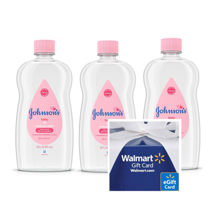 FREE $5 Gift Card when you buy 3 Johnsons Baby Oil