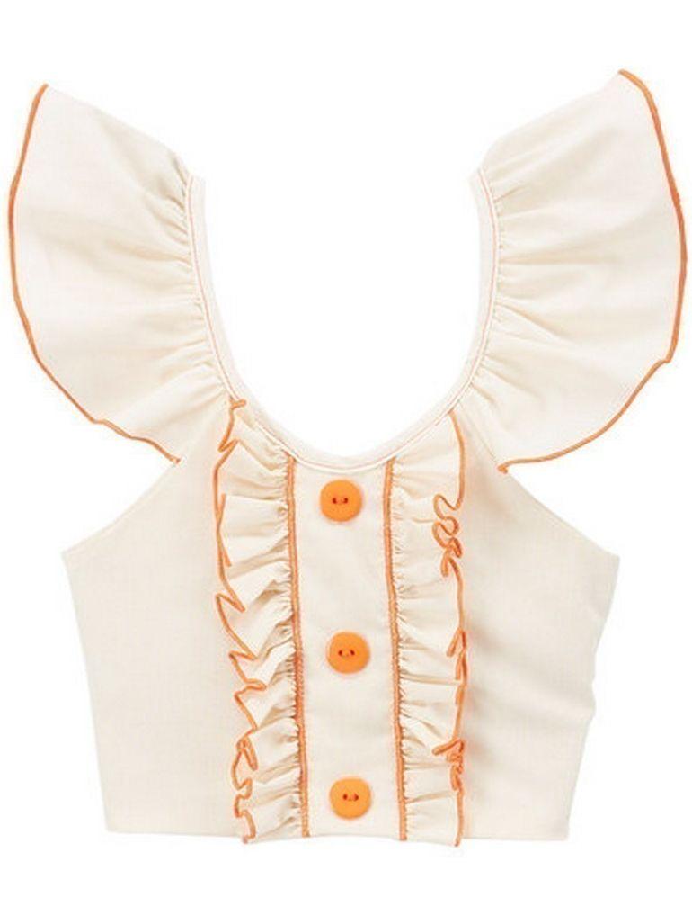 Little Girls Ivory Orange Flutter Sleeve Ruffle Trim Button Cotton Shirt