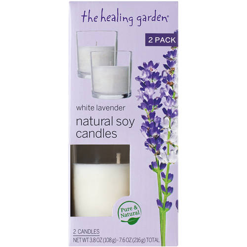 The Healing Garden White Lavender Natural Soy Candles, 3.8 oz, 2 ct