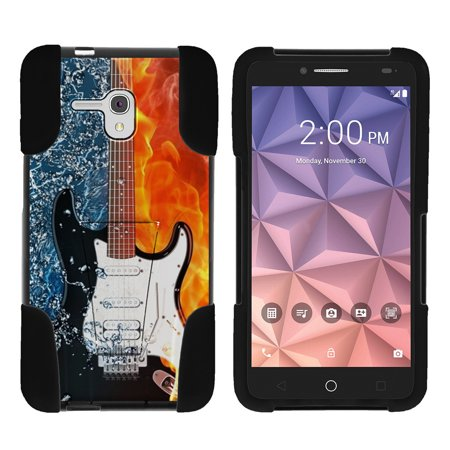Alcatel One Touch Fierce XL 5054N STRIKE IMPACT Dual Layer Shock Absorbing Case with Built-In Kickstand - Fire Water Electric Guitar