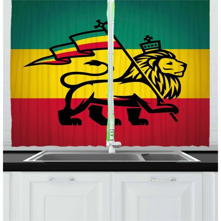 Jungle Themed Curtains (Rasta Curtains 2 Panels Set, Judah Lion with a Rastafari Flag King Jungle Reggae Theme Art Print, Window Drapes for Living Room Bedroom, 55W X 39L Inches, Black Green Yellow)