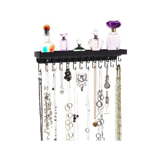 Angelynn S Necklace Holder And Jewelry Organizer Tree Shelf Tray Necklace Organizer Display Holds Lots Of Long Necklaces Schelon Black Walmart Com Walmart Com