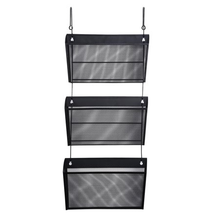 Rubbermaid Unbreakable Wall File Hanger - Universal Mesh Three-Pack Wall Files with Hanger, Letter, Black -UNV20011