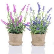 Coolmade Lavender Artificial Flower Pot - 2 Pack Fake Potted Plants Decorative Fake Lavender Flowers House Decorations (Pink Purple)