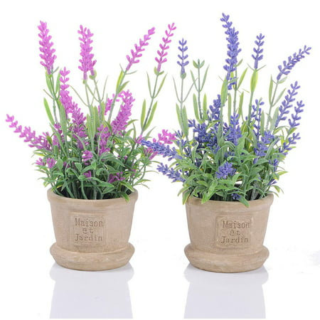 Decorative House Plants - Coolmade Lavender Artificial Flower Pot - 2 Pack Fake Potted Plants Decorative Fake Lavender Flowers House Decorations (Pink Purple)