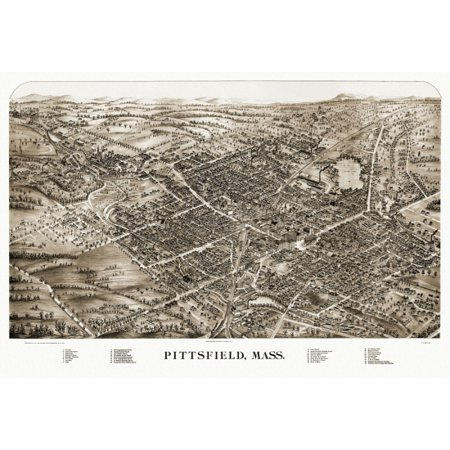 Antique Map of Pittsfield Massachusetts 1899 Berkshire County Stretched Canvas -  (18 x 24)