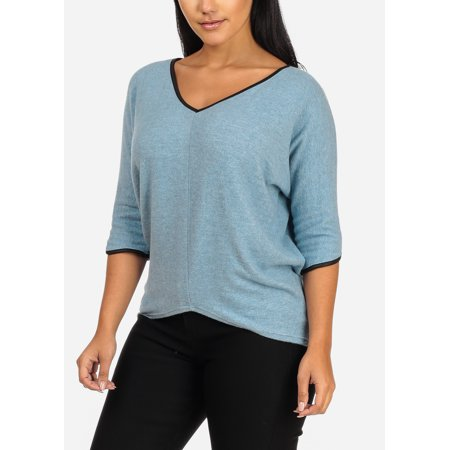 - Womens Juniors Casual 3/4 Sleeve V Neckline Asymmetrical Hem Light Blue Think Knit Top 20725R