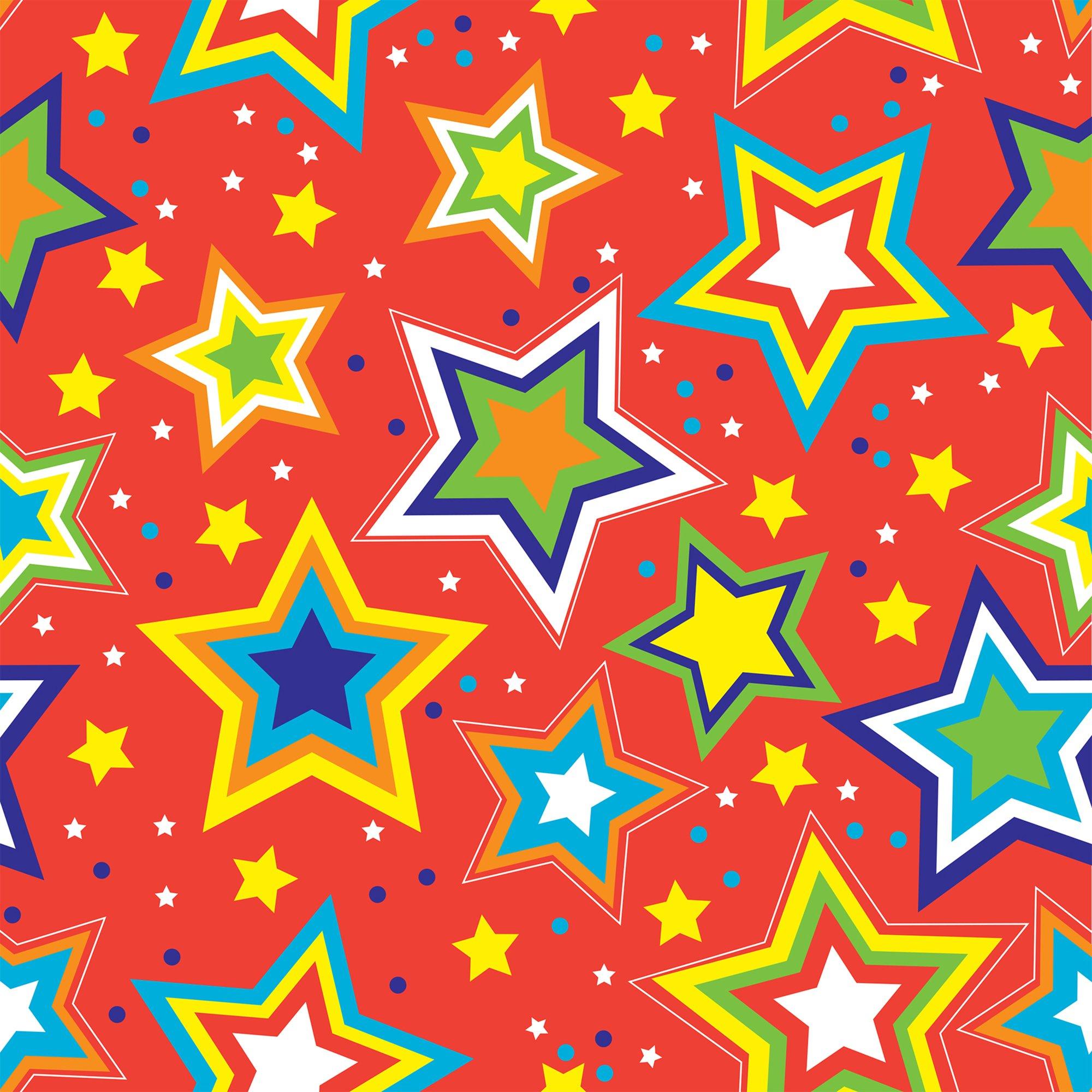 "Jillson & Roberts Gift Wrap, Starry Red, 5' x 30"" Rolls (6 Pcs)"
