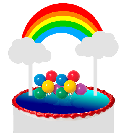 Bright Rainbow (Red Orange Yellow Green Blue) & Balloon Cluster Cake Decoration Banner Cake Topper (Balloon Delivery Atlanta)