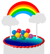 Bright Rainbow (Red Orange Yellow Green Blue) & Balloon Cluster Cake Decoration Banner Cake Topper