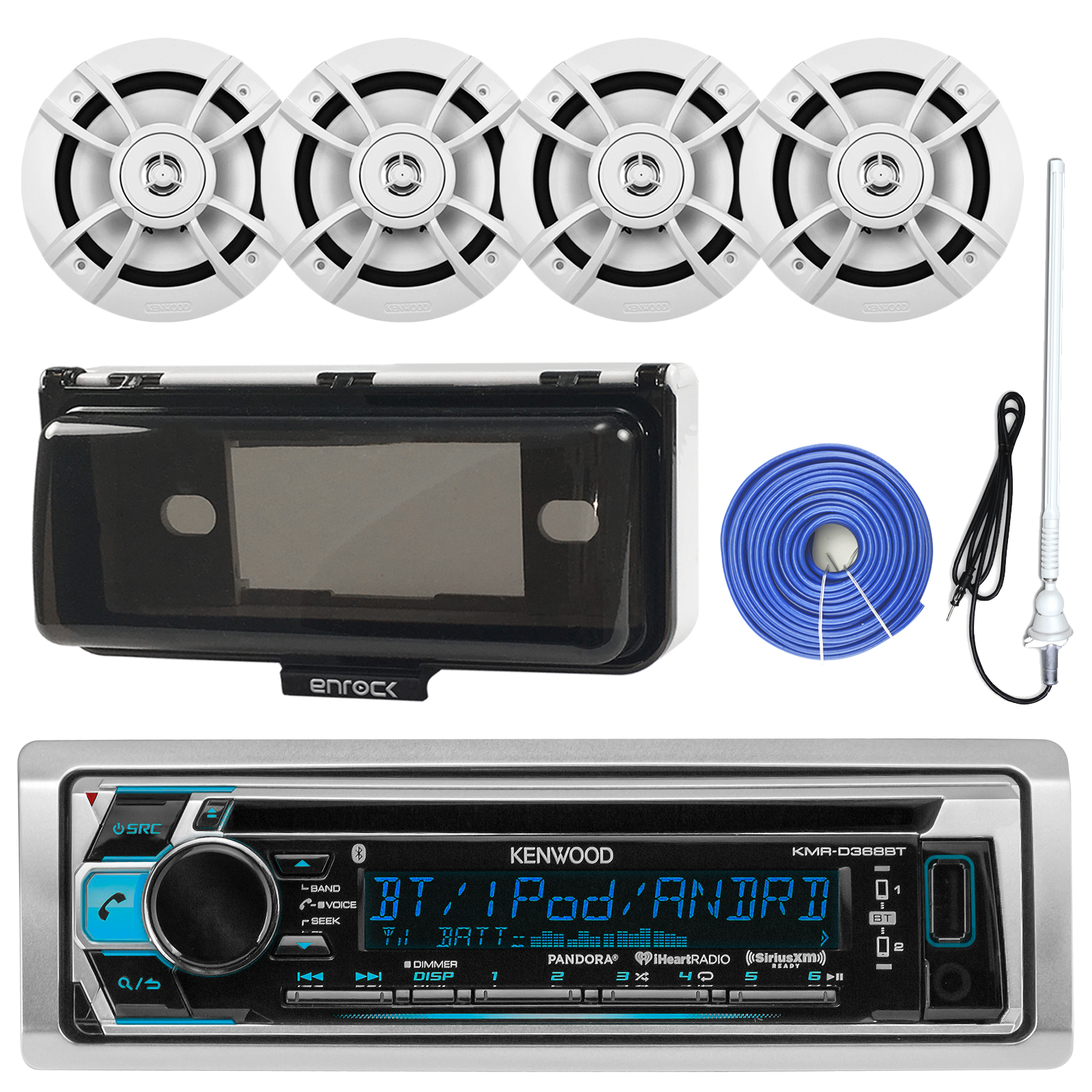 Kenwood KMRD372BT Marine Boat Audio Bluetooth CD Player Receiver W/ Protective Cover Bundle Combo With 4x 6.5-Inch 100 Watt 2-Way White Coaxial Speakers + Enrock Radio Antenna + 50Ft 14g Speaker Wire