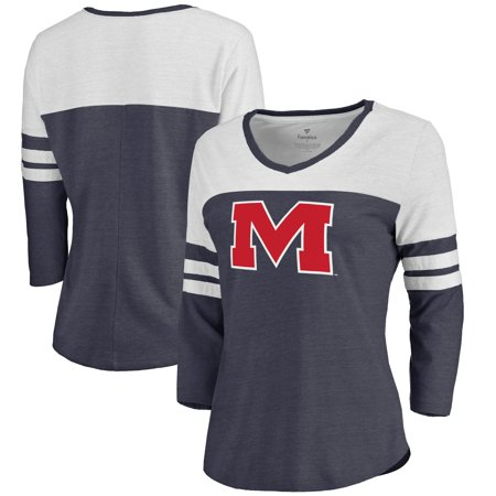 Ole Miss Rebels Fanatics Branded Women's Primary Logo Color Block 3/4 Sleeve Tri-Blend T-Shirt - Navy Ole Miss Merchandise