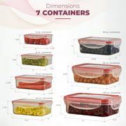 Sealco Food Storage Containers with Lids – Reusable Plastic Containers – BPA-Free, Stackable, Microwave, Dishwasher, Freezer Safe – Airtight – 7 Piece Set