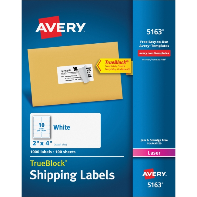 "Avery Easy Peel Address Label - Permanent Adhesive - 2"" Width x 4"" Length - 10 / Sheet - Rectangle - Laser, Inkjet - Whi"