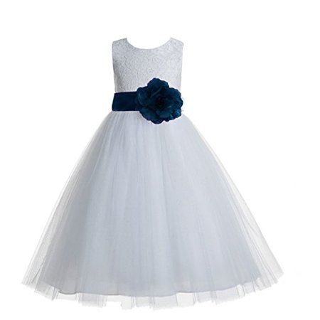 EkidsBridal Floral Lace Heart Cutout White Flower Girl Dresses First Communion Dress Baptism Dresses 172T](Gold Greek Dress)