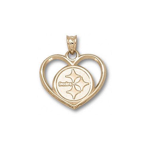 NFL - Pittsburgh Steelers 10K Gold Circle Logo Heart Pendant