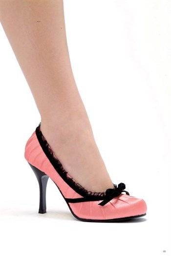 "Ellie Shoes 4"" Heel Satin Pump With Velvet Bow 406-Doll Baby Pink Satin,Black"
