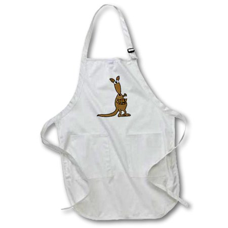 3dRose Funny Mother and Babies Kangaroo, Full Length Apron, 22 by 30-inch, White, With Pockets