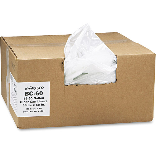 Classic Linear Clear Low-Density Can Liner, 55-60 gal, 100 ct