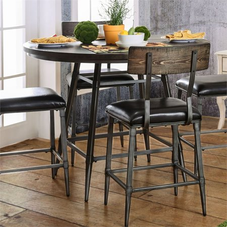 Furniture Of America Haliana Round Counter Height Dining Table In Weathered Gray