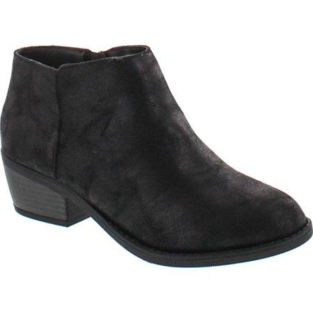 - Soda Women's Massen Distress Faux Suede Leather Round Toe Heel Ankle Boot