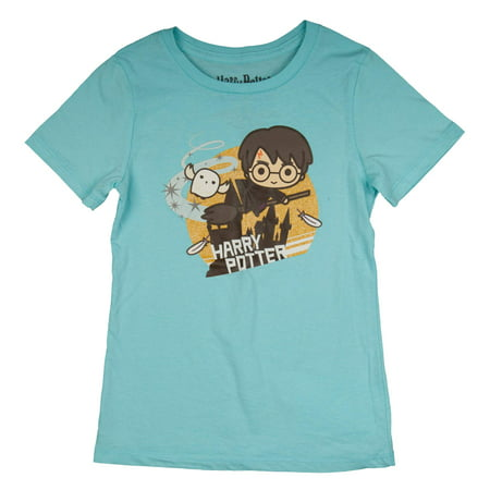 Mermaid Harry Potter (Quidditch Chibi Harry Potter Character Glitter Graphic T-Shirt (Little Girls & Big)