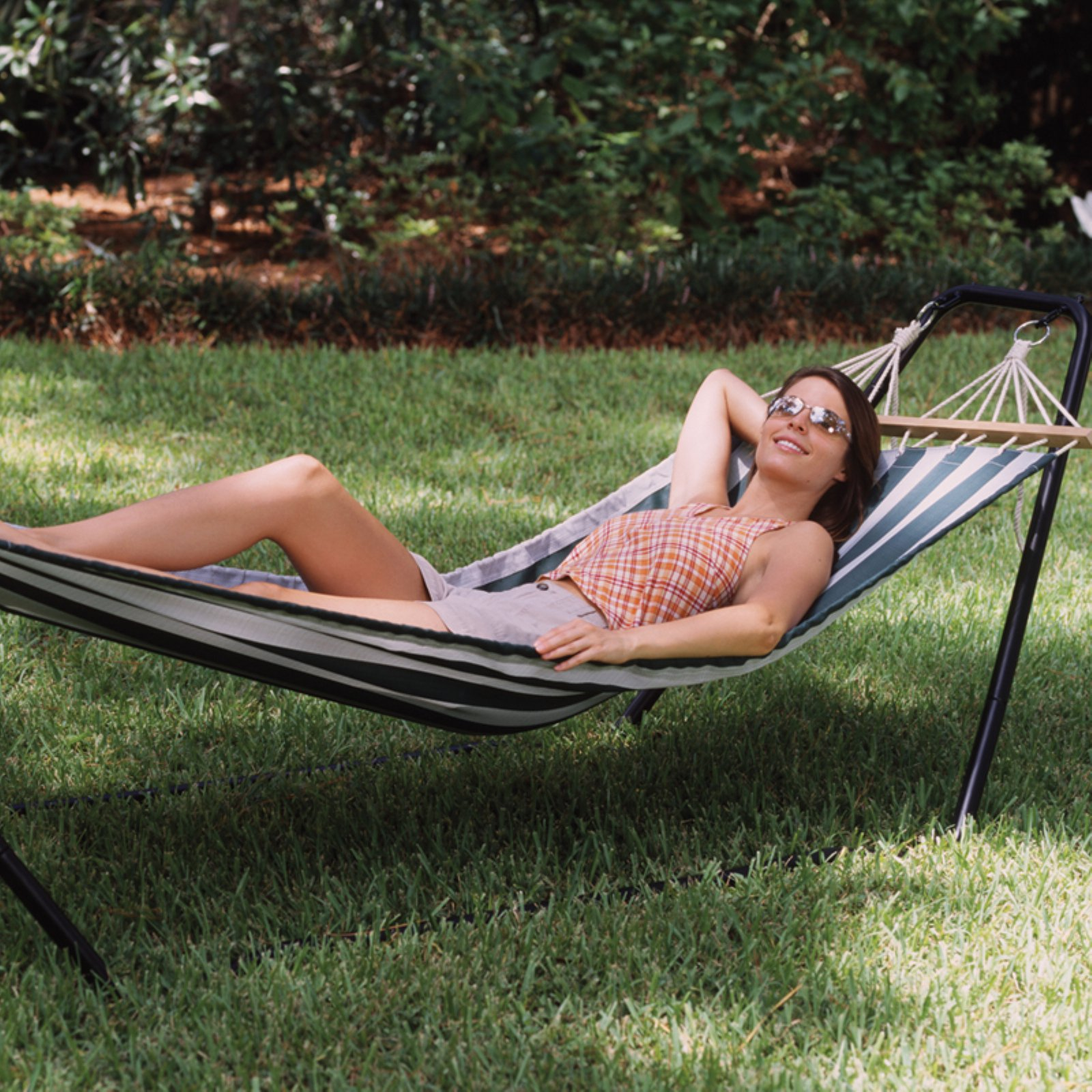 Click here to buy Texsport Crystal Bay Fabric Single Hammock with Steel Stand by Power Sales and Advertising.