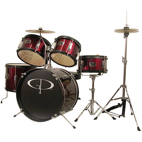 GP Percussion 5-Piece Junior Drum Set, Metallic Wine Red