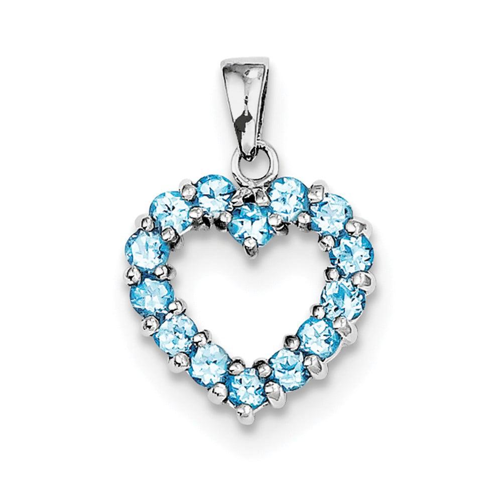 Sterling Silver Rhodium Light Swiss Blue Topaz Heart Pendant. Gem Wt- 1.04ct