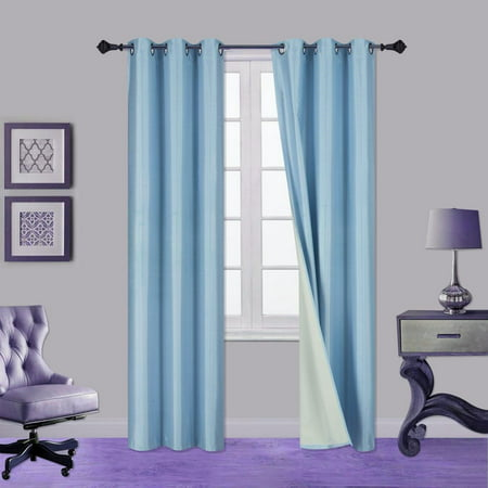 "1 PAIR  LIGHT BLUE SKY NOA 63"" LENGTH Insulated Lined 100% Heavy Thick Blackout SILVER Grommet Window Curtain Panels Drapes NOT SEE THROUGH ENERGEY SAVING"