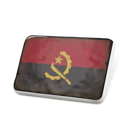 Porcelein Pin Angola Flag with a vintage look Lapel Badge – NEONBLOND