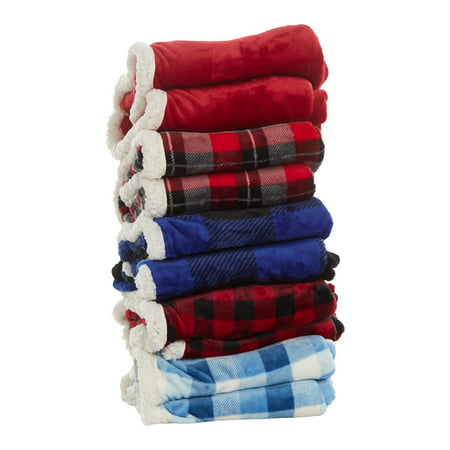 "Cuddl Duds Oversized Throw Blanket with a Sherpa Foot Pocket, 50"" x 70"", Red"