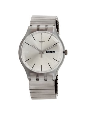Swatch Originals Resolution Silver Dial Stainless Steel Unisex Watch SUOK700A