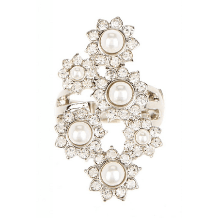 Lux Accessories Faux Pearl Statement Ring