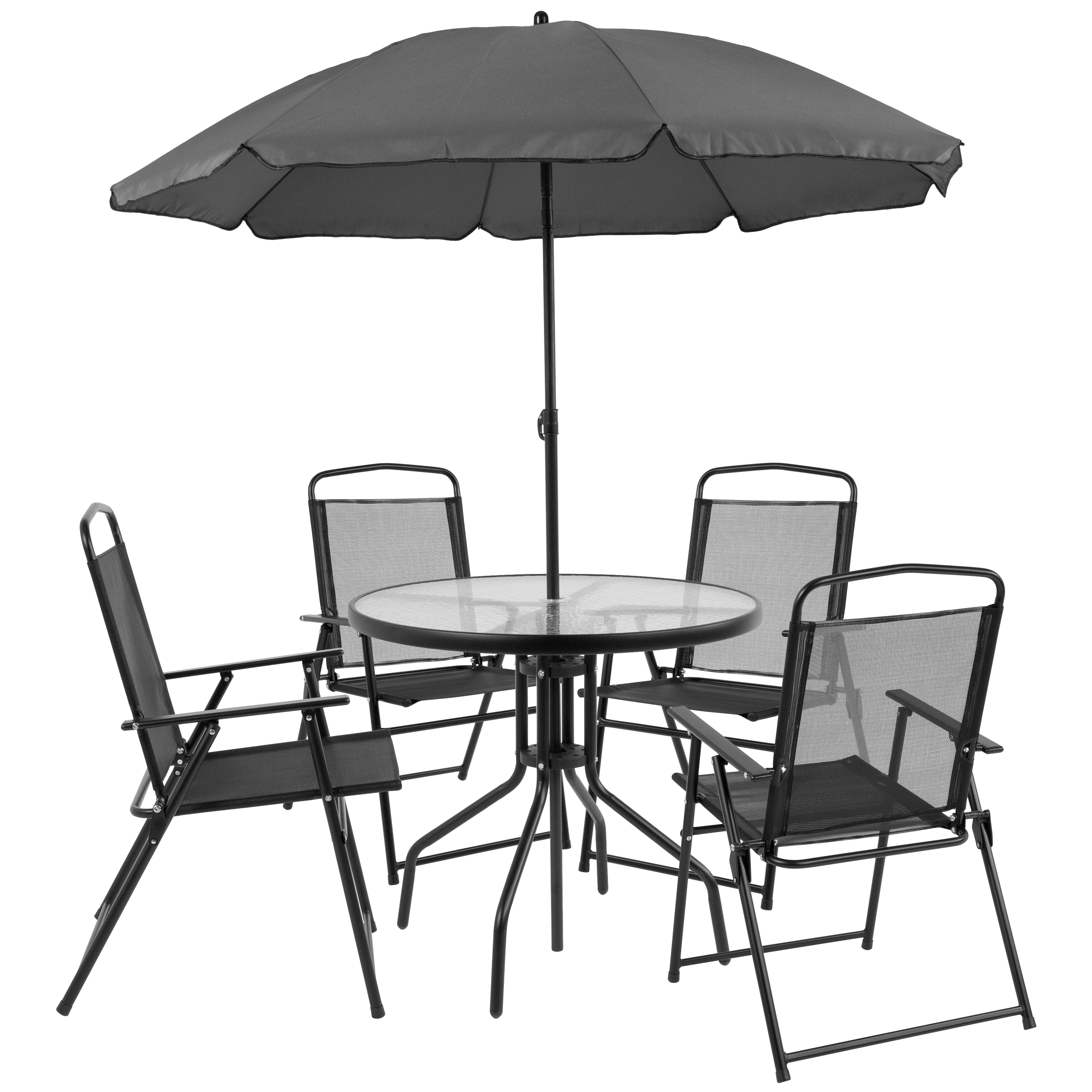 Incroyable Flash Furniture Nantucket 6 Piece Outdoor Patio Dining Set, Black