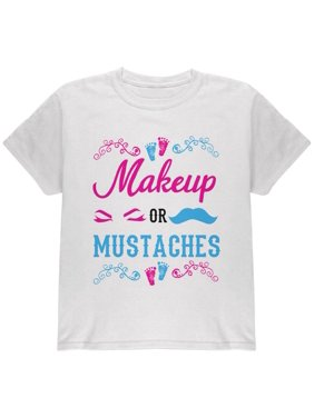 fc5b8aff4 Product Image Gender Reveal Makeup Or Mustaches Youth T Shirt