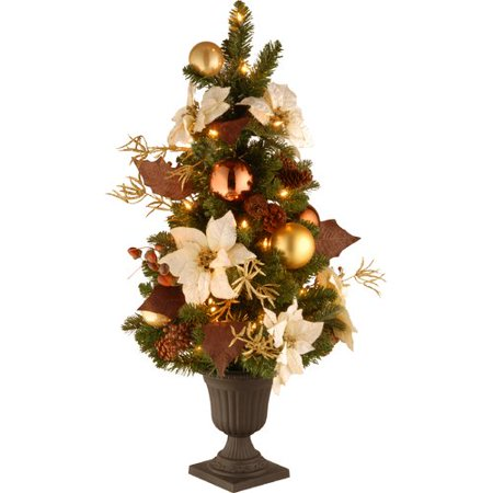 National Tree Pre-Lit 3' Decorative Collection Inspired by Nature Entrance Artificial Christmas Tree in a 9