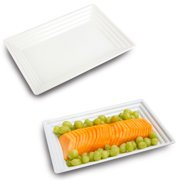 """White Plastic Serving Tray Heavyweight Rectangular Platter 11""""X16"""" Disposable or Reusable (3 Trays)"""