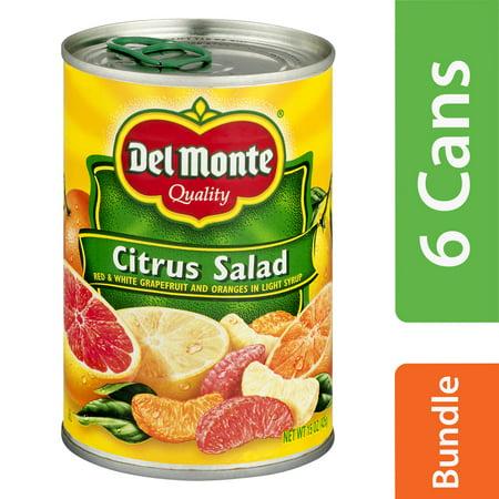 (6 Pack) Del Monte Orange Sections & Grapefruit in Light Citrus Salad, 15 oz - Fruit Salad Set