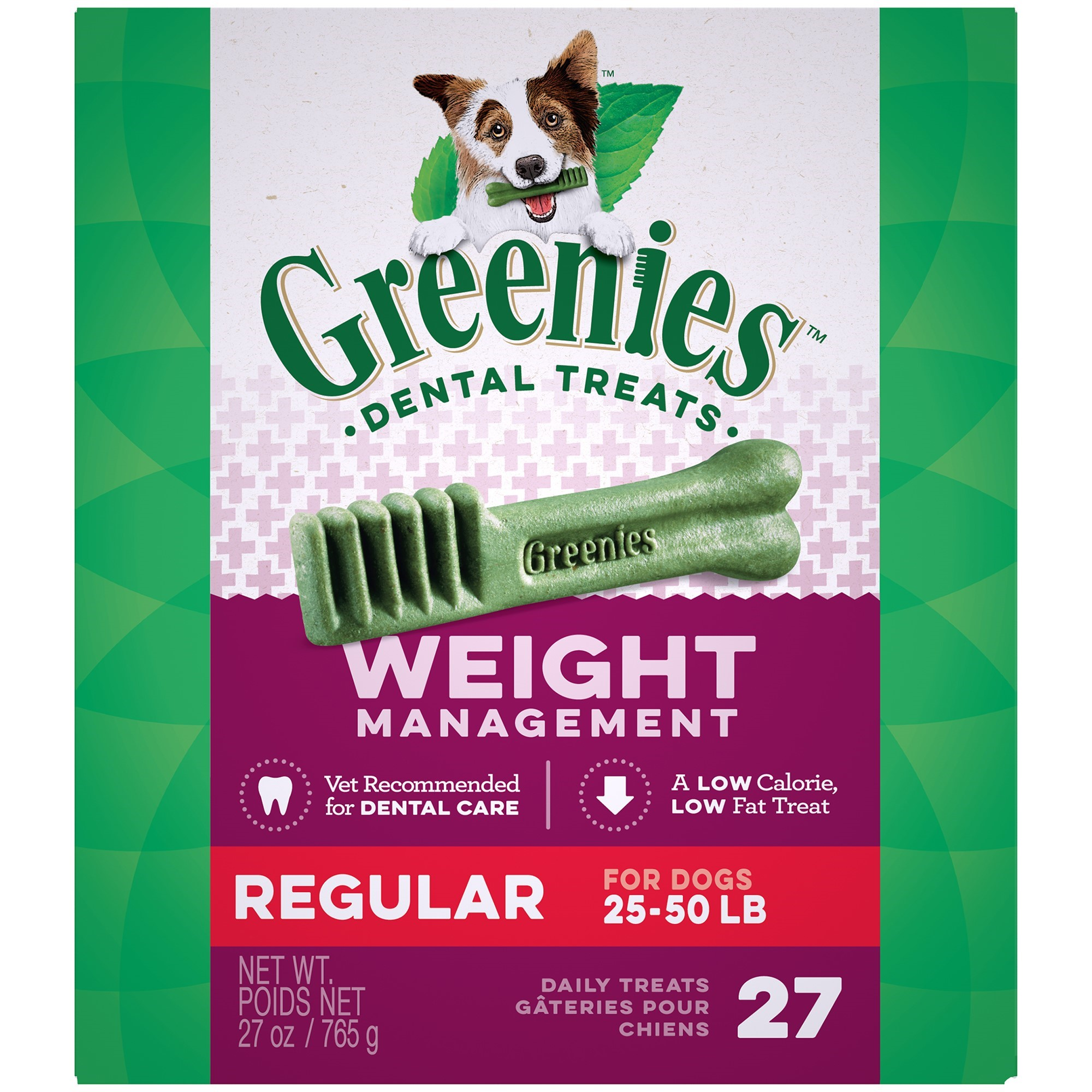 Greenies Weight Management Regular Dental Dog Treats, 27 Oz, 27 Ct by Mars Petcare